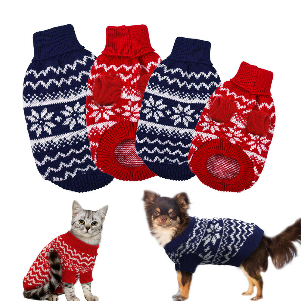 Dog Knitted Jumper Polo Neck Warm Sweater Pet Puppy Cat Xmas Clothes ...