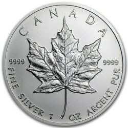 Kyпить $5 Silver Canadian Maple Leaf 1 oz Random Year .9999 Fine Silver Maple Leaf на еВаy.соm