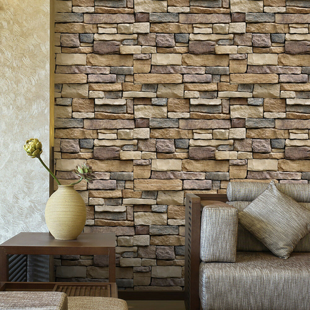 Do It Yourself Home Design: 3D Wall Paper Brick Stone Rustic Effect Self-adhesive Wall