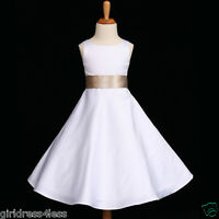 WHITE/CHAMPAGNE A-LINE WEDDING FLOWER GIRL DRESS 12M 18M 2 4  6 8 10 12 14 16