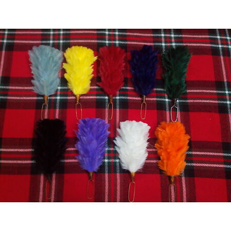 img-Glengarry Cap Plume Feather Hackle Balmoral Hats Highland wear Red,White,Blue 6