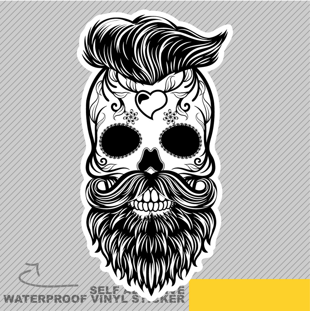 Details about mexican skull hair beard face vinyl sticker decal window car van bike 1991