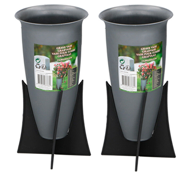 Set of 2 Memorial Grave Vases on Stands Cemetery