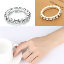 2PCS Women Finger Ring Silver Crystal Diamante 1ROW Elastic Stretch Toe Ring