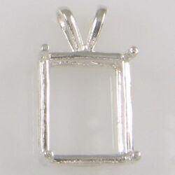 PRE-NOTCHED EMERALD CUT PENDANT STERLING SILVER 5X3-30X22 CPECSS