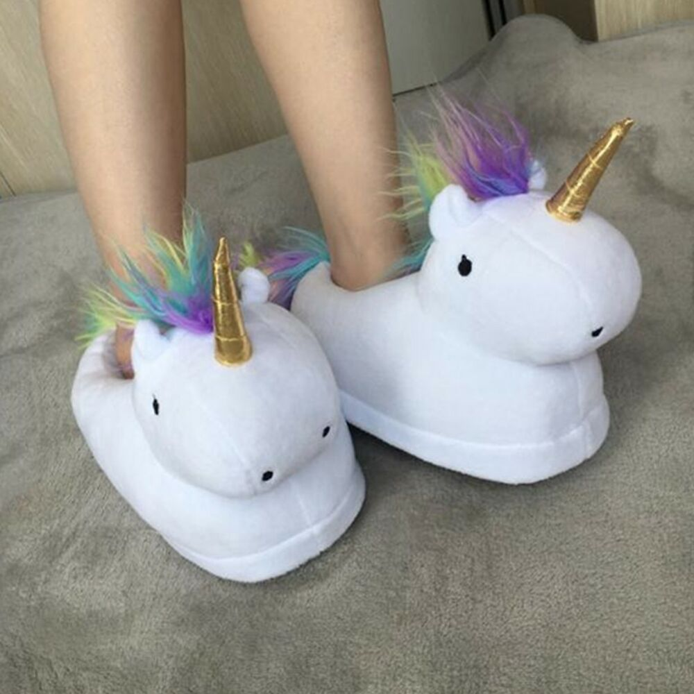 christmas unicorn slippers home novelty fluffy shoes. Black Bedroom Furniture Sets. Home Design Ideas