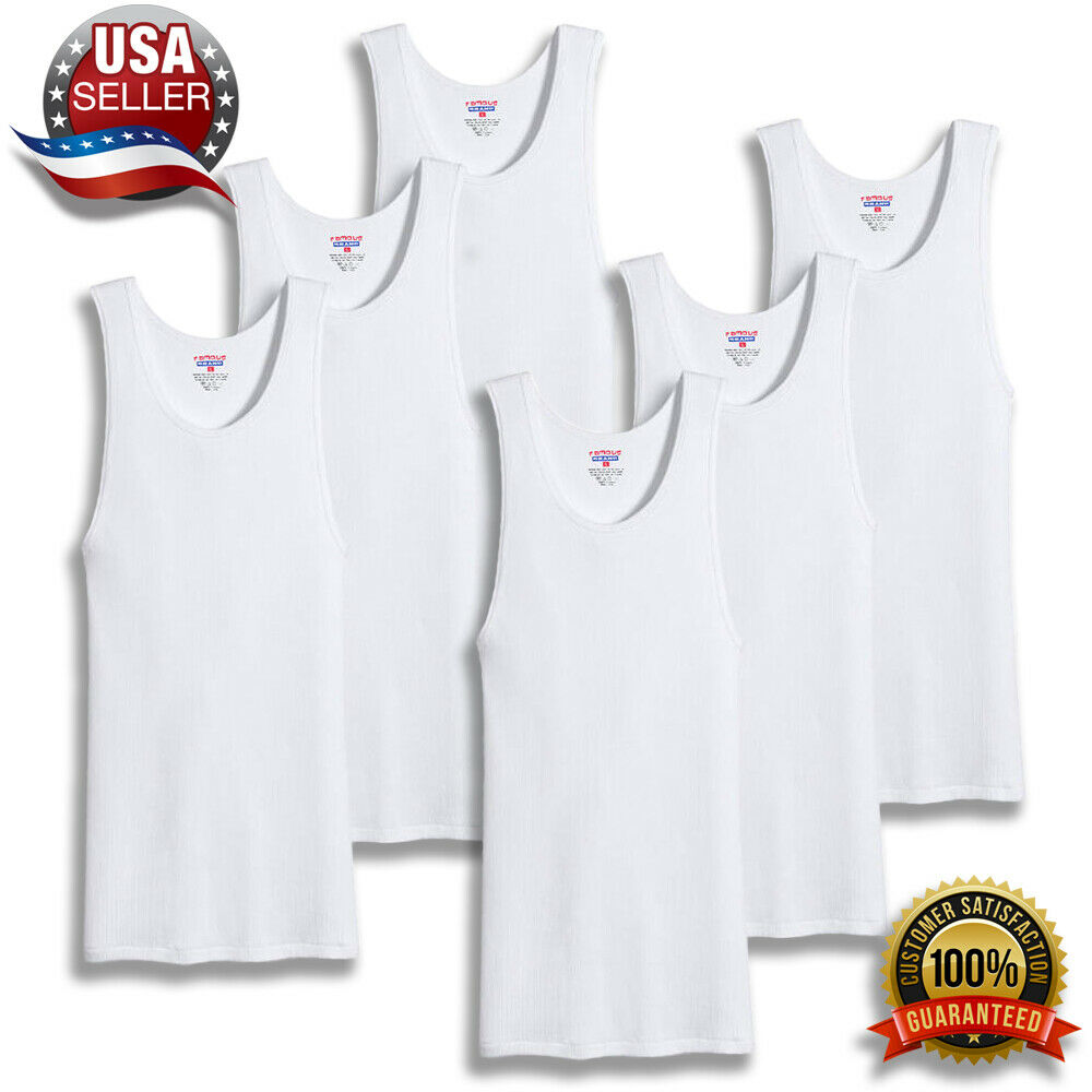 7fea7e981bb65 Details about pack mens white a shirts cotton ribbed tank top undershirt  wife beater jpg 1000x857