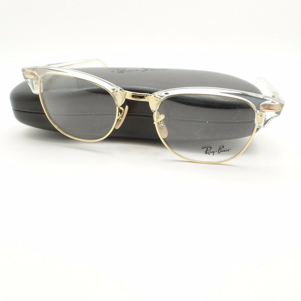 Ray Ban Clubmaster 5154 5762 Transparent Gold Frame New