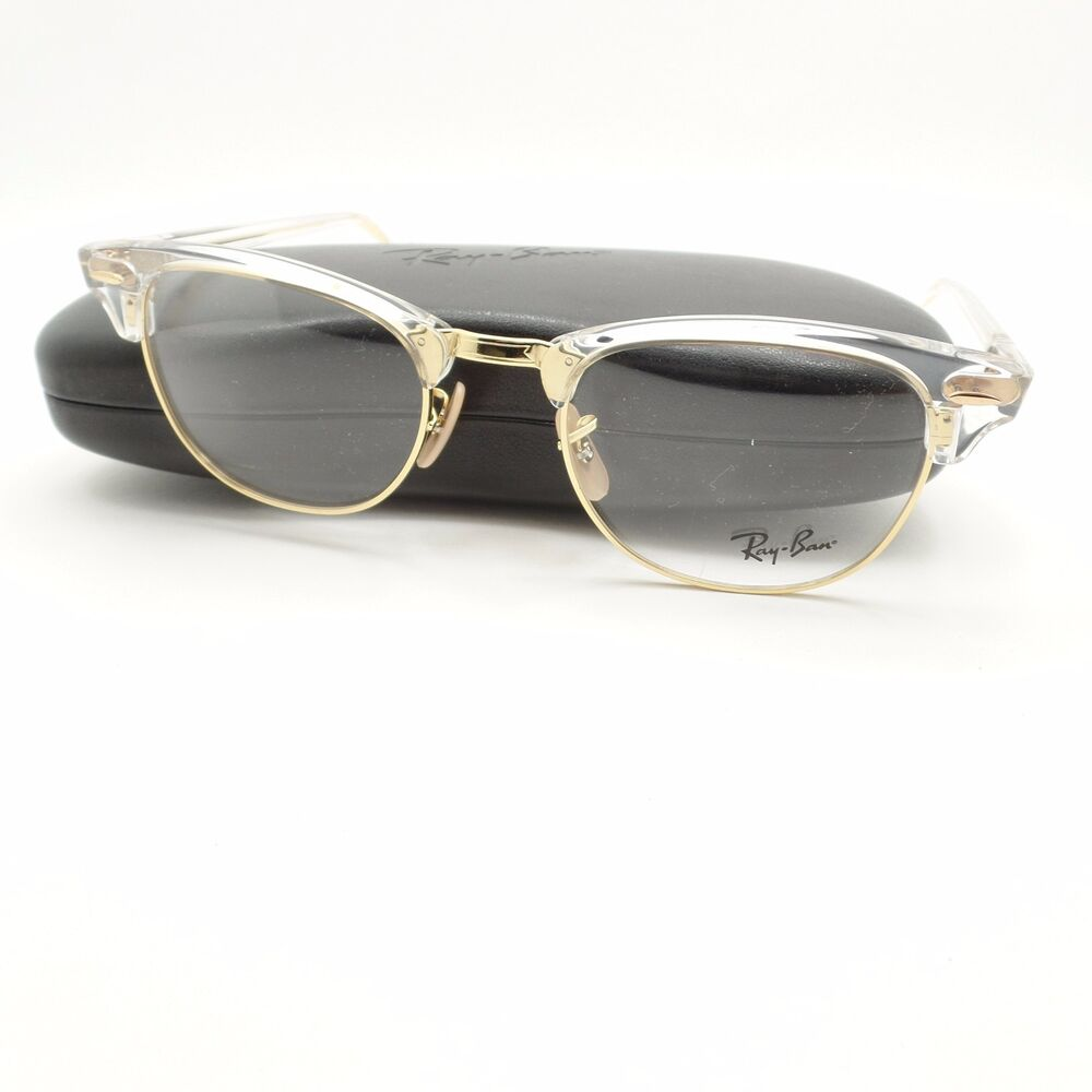 AUTHENTIC Ray Ban Clubmaster 5154 5762 Transparent Gold Frame New | eBay