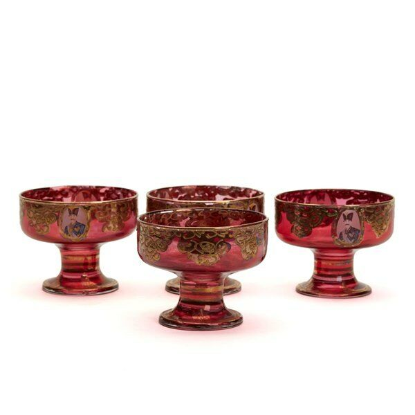 FOUR ANTIQUE CONTINENTAL RUBY FLASHED PORTRAIT DISHES C1900