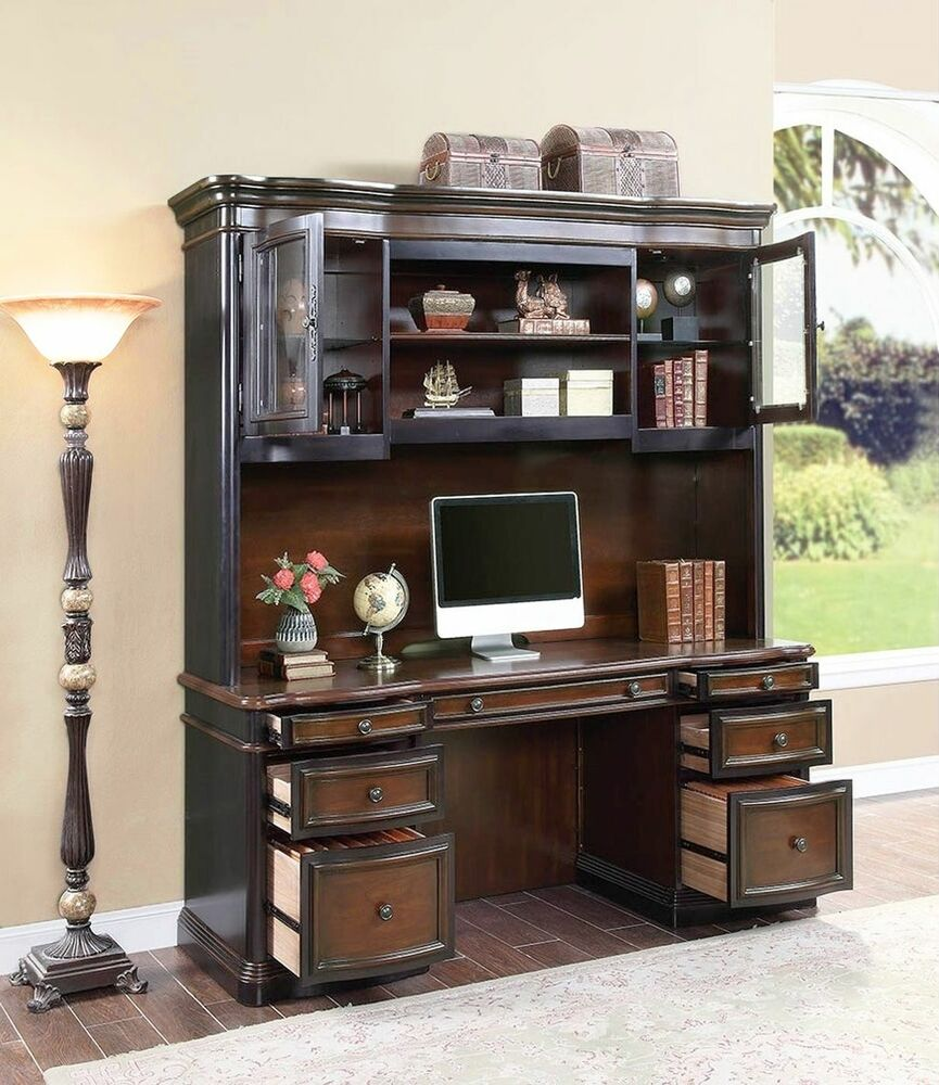Executive Credenza Desk & Hutch W/ Glass Doors Two Tone