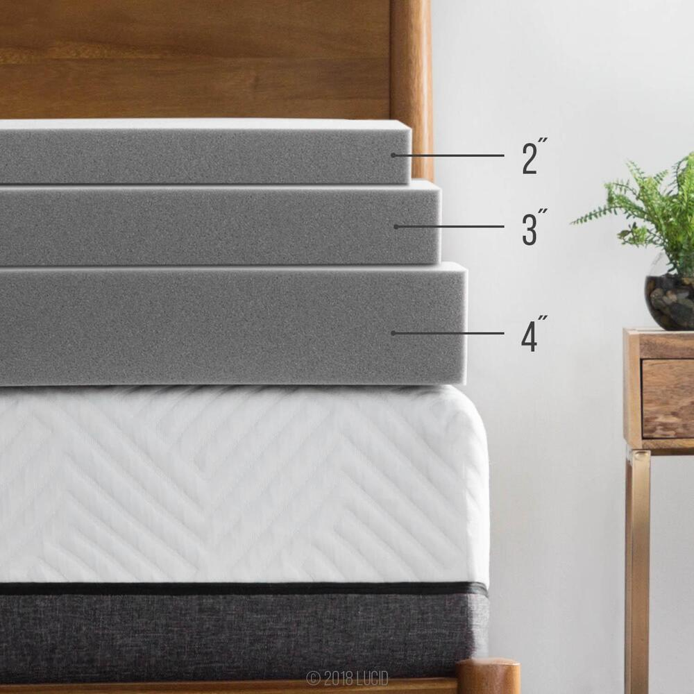 Lucid Bamboo Charcoal Memory Foam Mattress Topper Twin