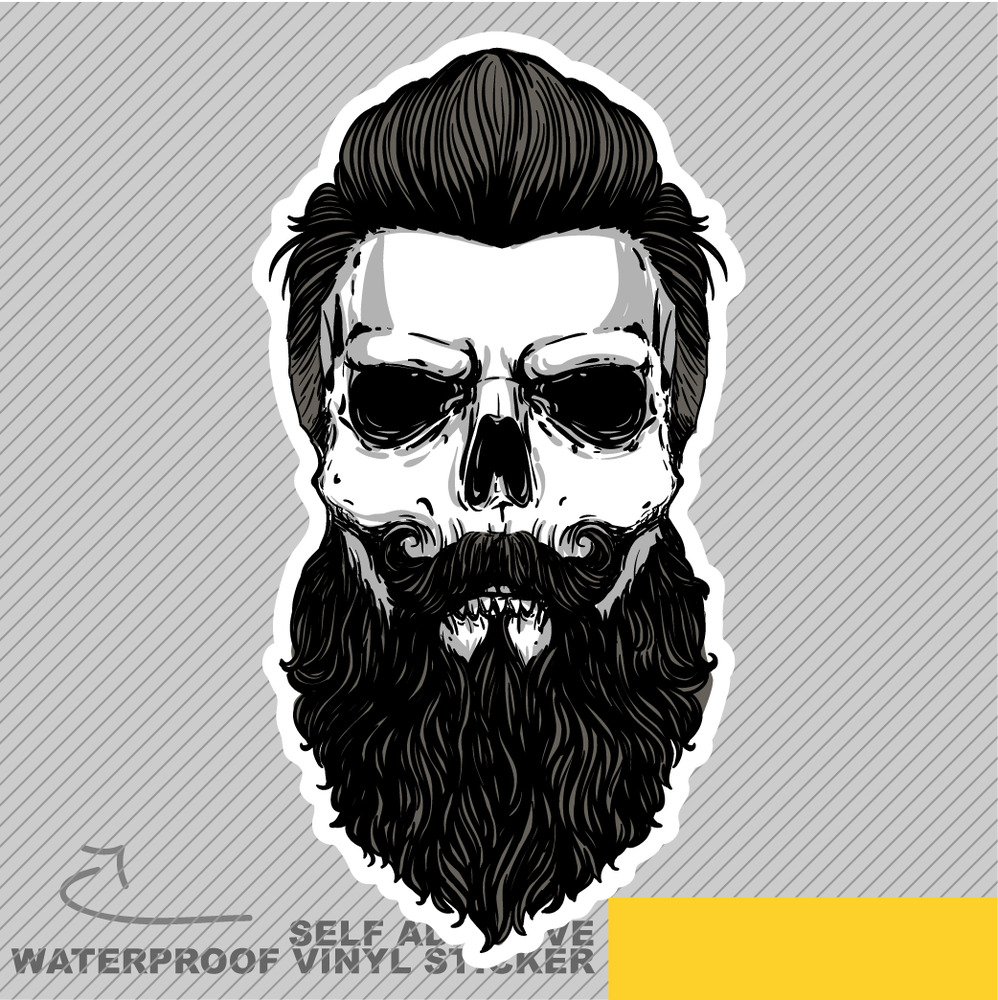 Skull Beard Retro Boss Vinyl Sticker Decal Window Car Van