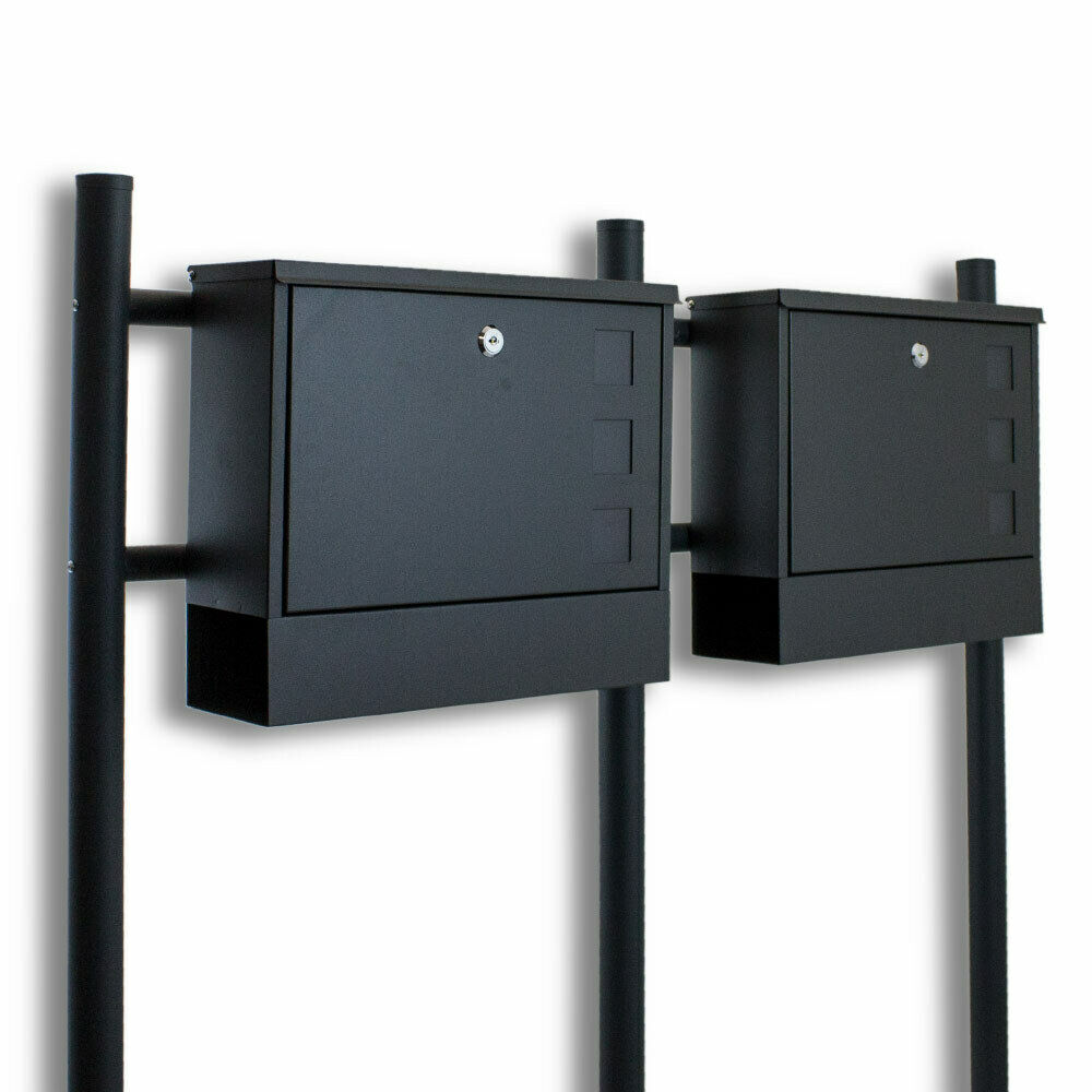 doppel standbriefkasten briefkasten briefkastenanlage zeitungsfach dunkelgrau ebay. Black Bedroom Furniture Sets. Home Design Ideas