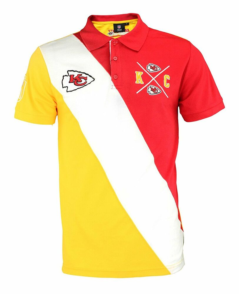 Klew Nfl Football Mens Kansas City Chiefs Rugby Diagonal Stripe