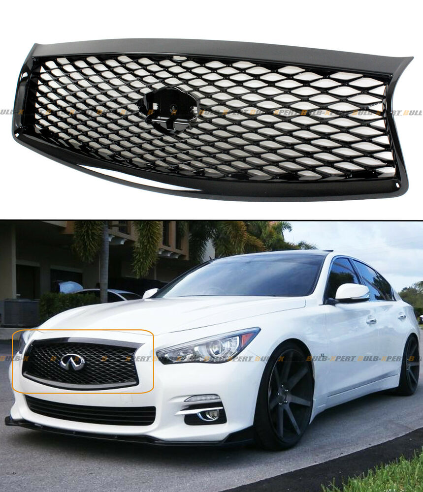 FOR 2014-17 INFINITI Q50 HIGH GLOSS BLACK OUT FRONT HOOD