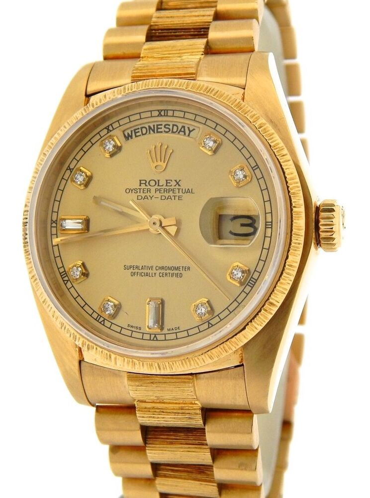 8e004f19f18 Details about Mens Rolex Day-Date President 18k Gold Watch Bark Champagne  Diamond Dial 18078