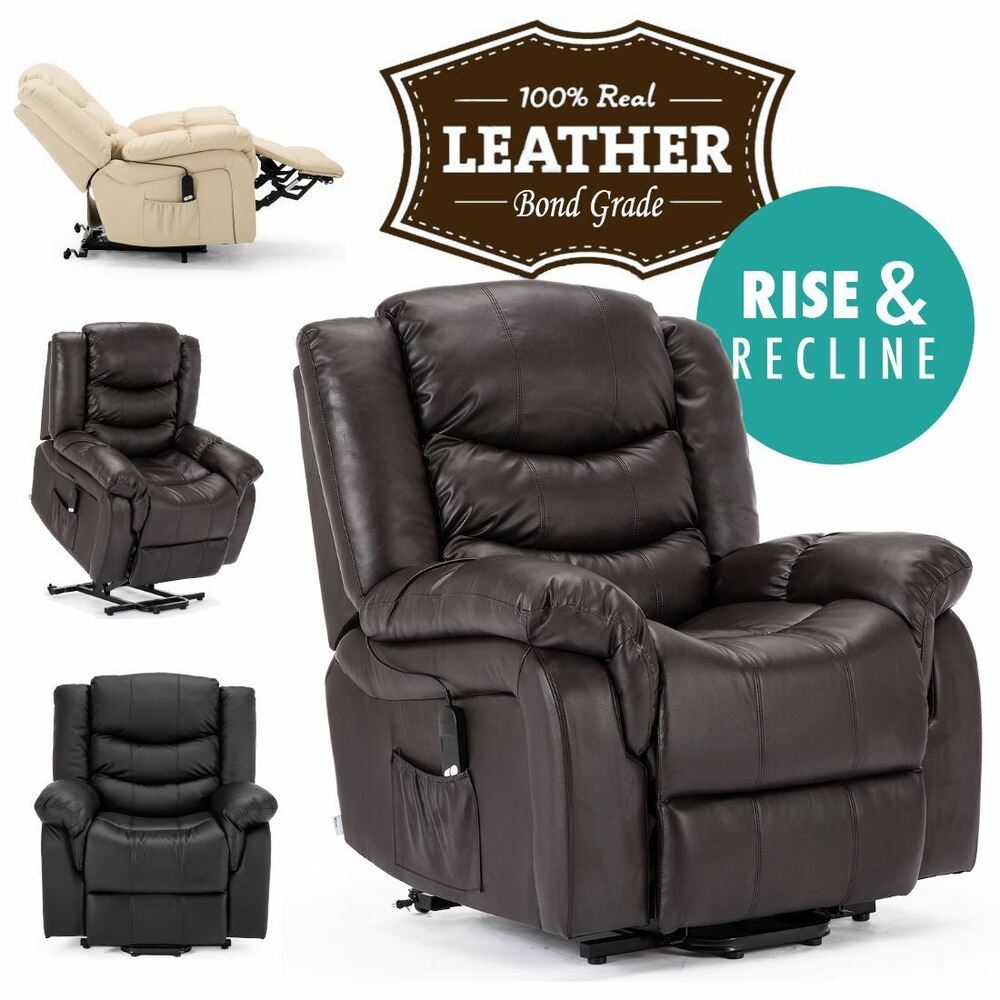 SEATTLE ELECTRIC RISE REAL LEATHER RECLINER ARMCHAIR SOFA ...