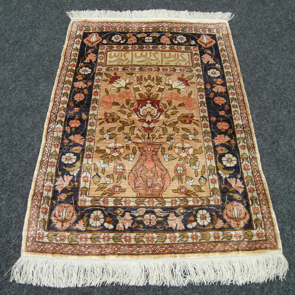 seidenteppich hereke 69 x 50 cm orient teppich wandteppich vase silk carpet rug ebay. Black Bedroom Furniture Sets. Home Design Ideas