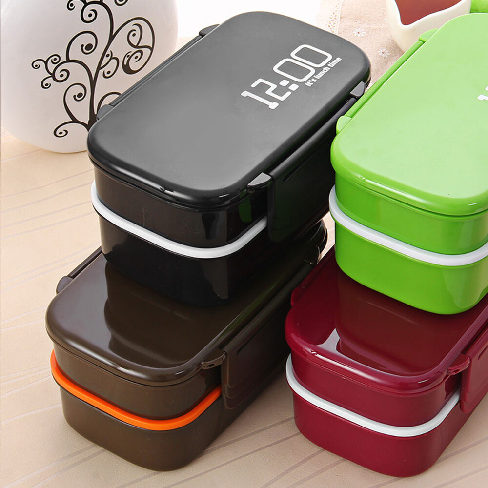 1410ml double tier bento brotdose meal box geschirr mikrowelle geschirr set ebay. Black Bedroom Furniture Sets. Home Design Ideas