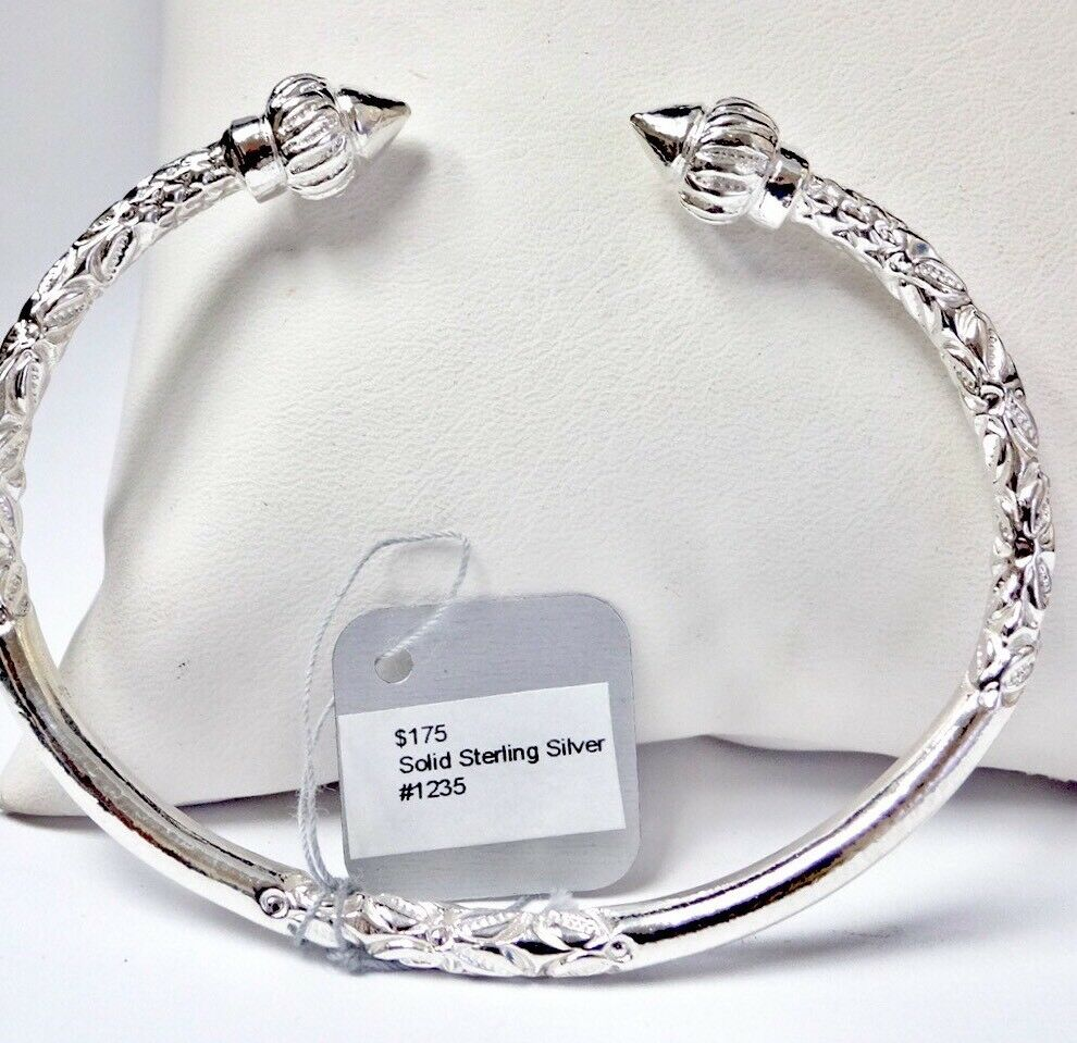 Sterling Silver West Indian Bangle Bracelet Cuff Jamaica