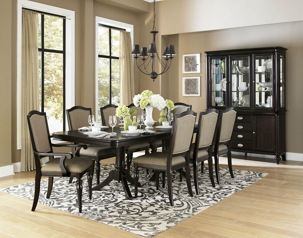 Mesa 9 Pieces New Traditional Brown Rectangular Dining Room Table Chairs Set