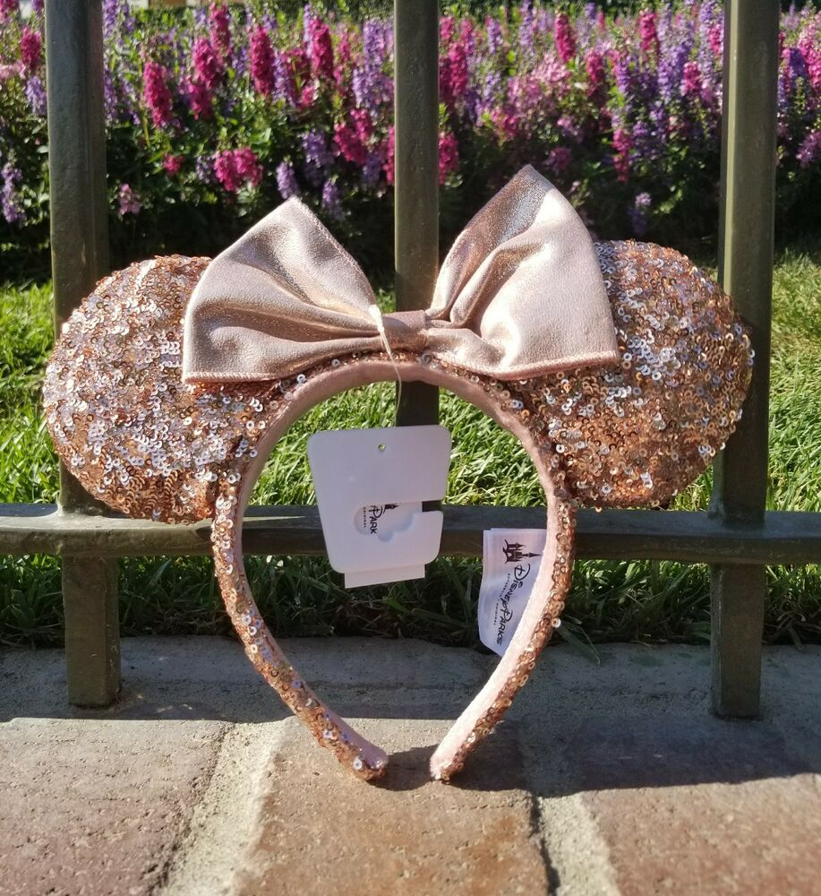 bnwt authentic disneyland dlr disney parks rose gold minnie mouse ears headband ebay. Black Bedroom Furniture Sets. Home Design Ideas