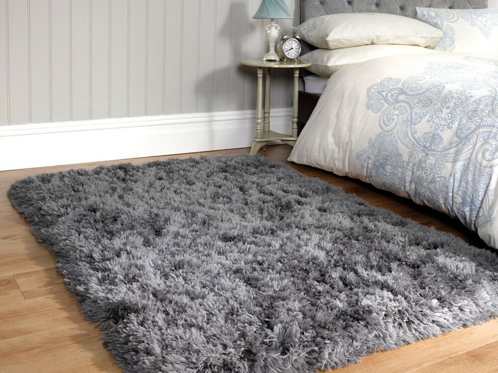 Small Large Grey Plush Soft Sumptuous Fluffy Long Deep Gy Pile Rug