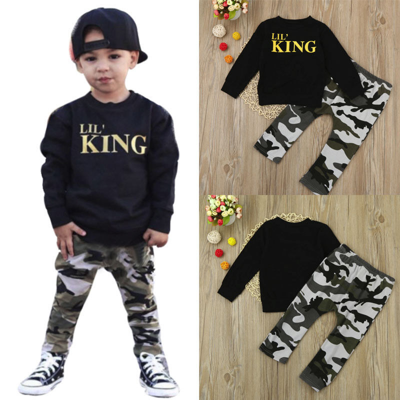 377426693 Toddler Kids Baby Boys Letter T-shirt Tops Camouflage Pants Outfits Clothes  Set   eBay