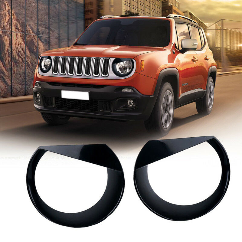 Black 2015 Jeep Renegade: 2X ABS Bezels Angry Bird Headlight Trim Cover Fit For Jeep