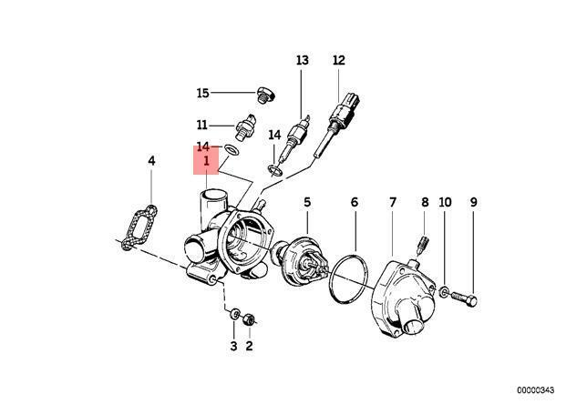 details about genuine bmw e28 e30 e34 z1 cooling system thermostat housing  oem 11531730470
