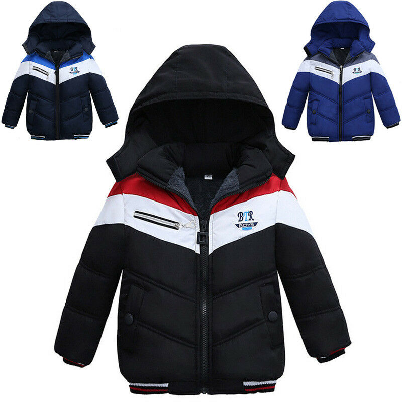 5620013df3a7 Kid Baby Boy Thick Coat Cotton Padded Winter Warm Jacket Hooded ...