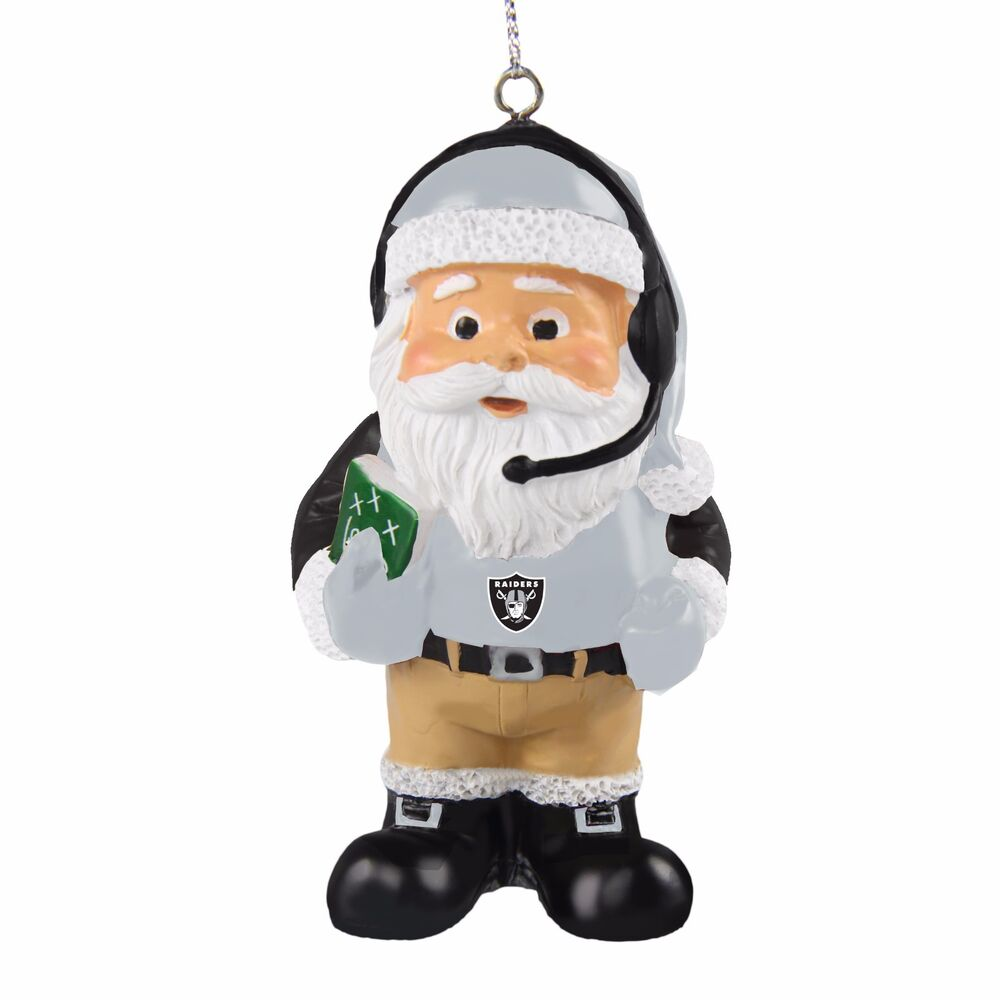 Oakland Raiders Coach Santa Resin Holiday Christmas Tree Ornament ...