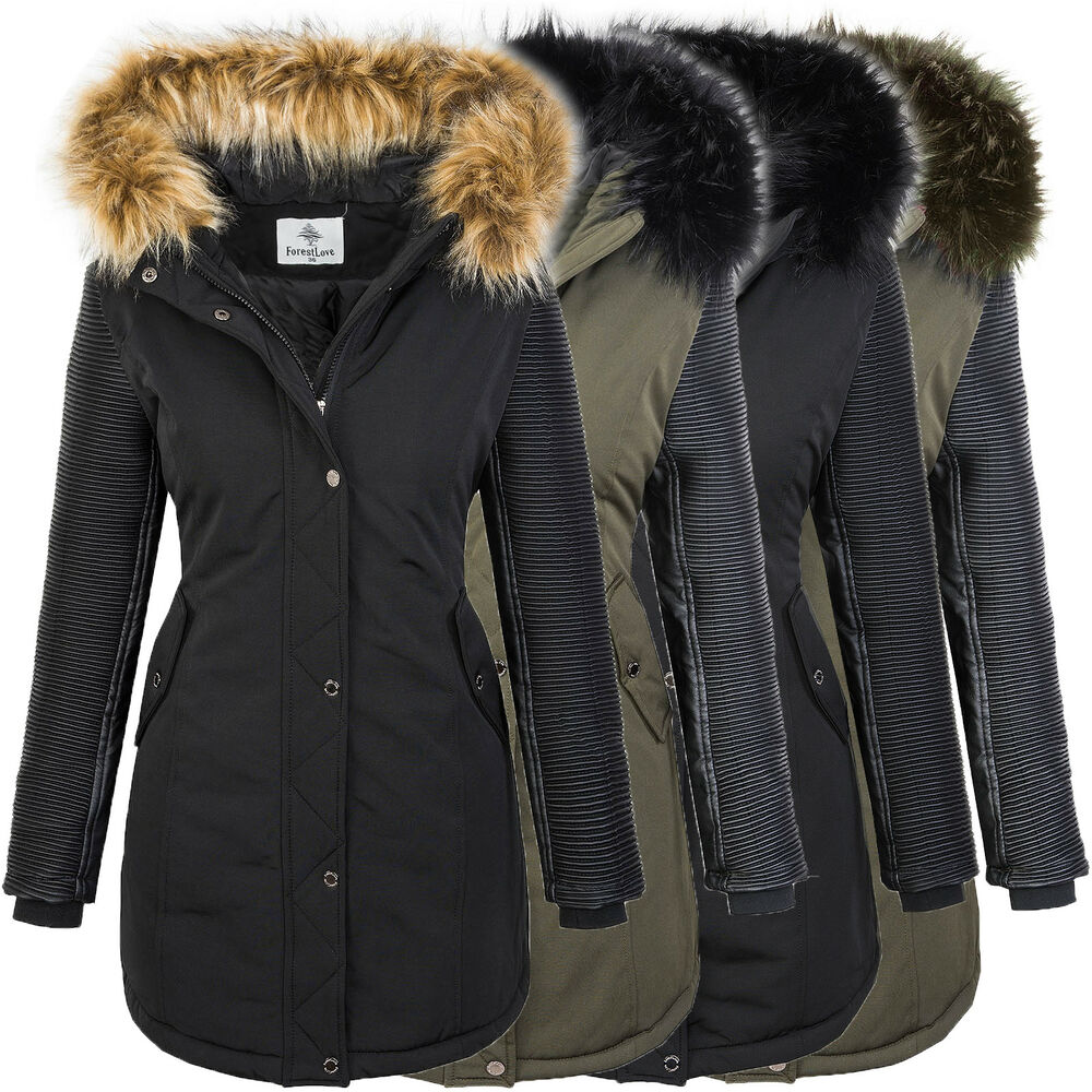 damen jacke winterjacke parka mantel kunstleder rmel outdoor jacke warm d 347 ebay. Black Bedroom Furniture Sets. Home Design Ideas