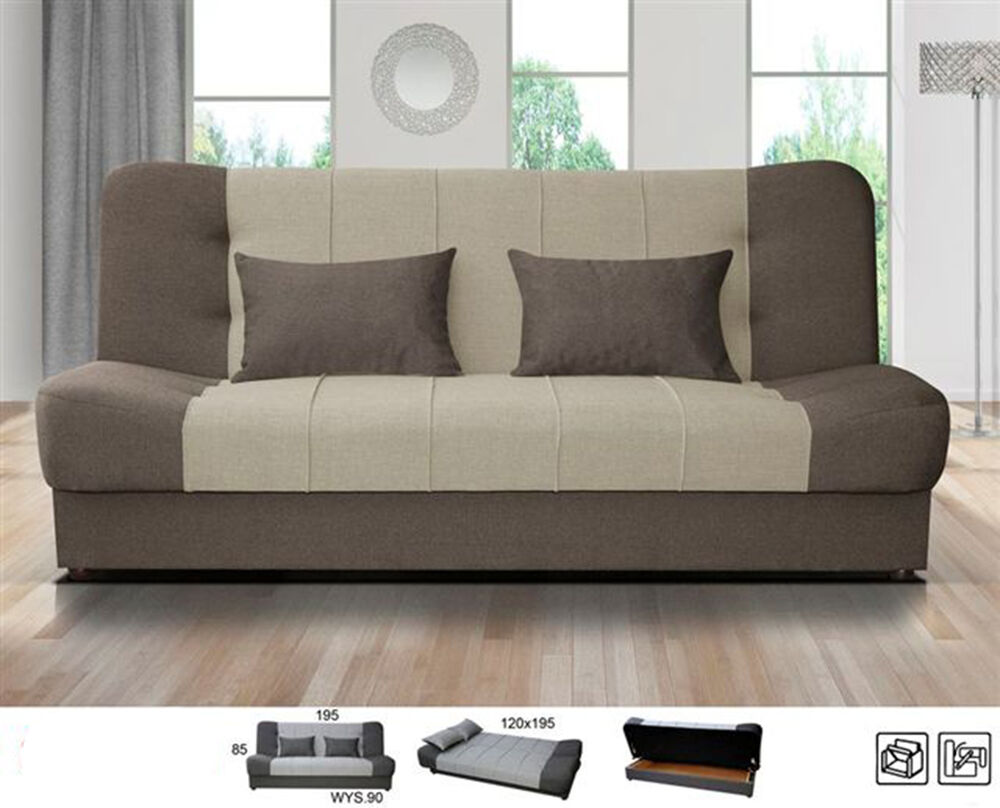 New Large Click Clack Sofa Bed Fabric With Storage 3
