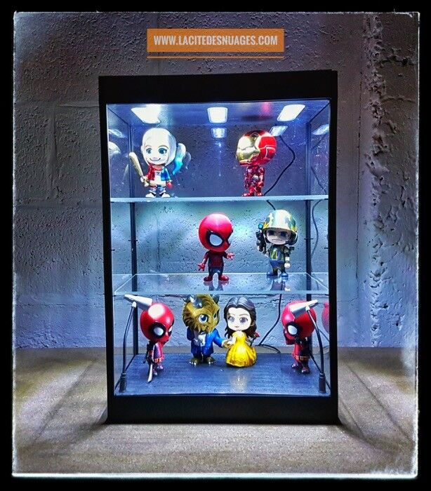vitrine display case led dust free anti poussi re pop funko cosbaby hot toys 1 6 ebay. Black Bedroom Furniture Sets. Home Design Ideas