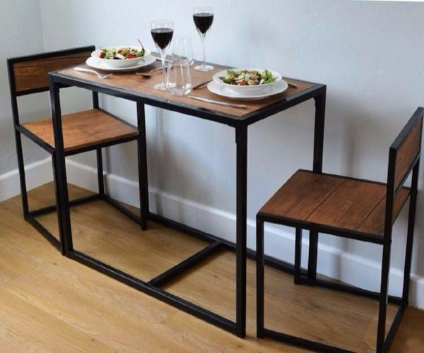 small kitchen table and 2 chairs space saver dining table set breakfast bar new ebay. Black Bedroom Furniture Sets. Home Design Ideas