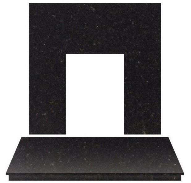 Black Granite Electric Gas Fire Fireplace Wall Floor