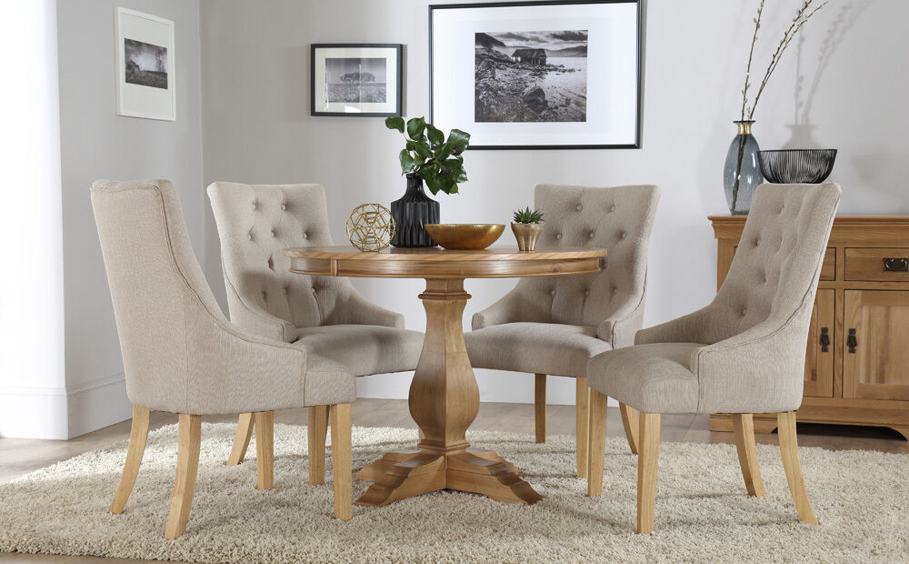 Cavendish Round Oak Dining Table and 4 Fabric Chairs Set ...
