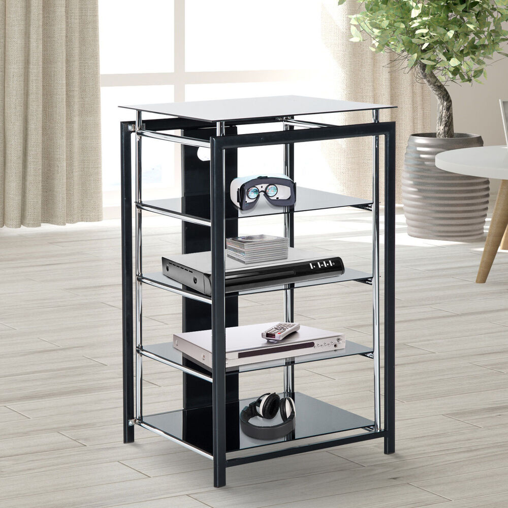 hifi rack tv turm regal st nder phonom bel aus metall hartglas schwarz ebay. Black Bedroom Furniture Sets. Home Design Ideas