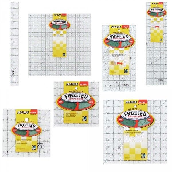 Olfa Selection Of Rulers Quilting Frosted Non Slip Sewing