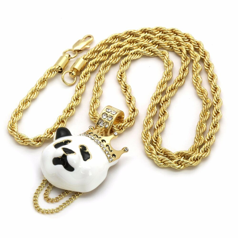 314k Gold Plated Custom Iced Out Hip Hop Crown Panda