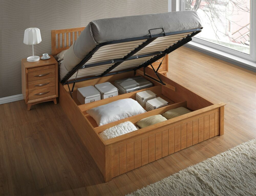 Solid wooden ottoman gas lift up storage bed 4ft6 toffee for Diy ottoman bed frame