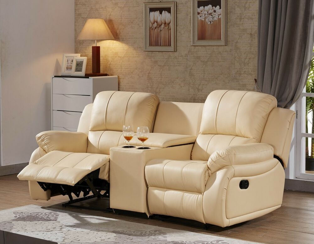 ledersofa kinosofa relaxsofa fernsehsofa recliner heimkino beige 5129 cup 2 317 ebay. Black Bedroom Furniture Sets. Home Design Ideas