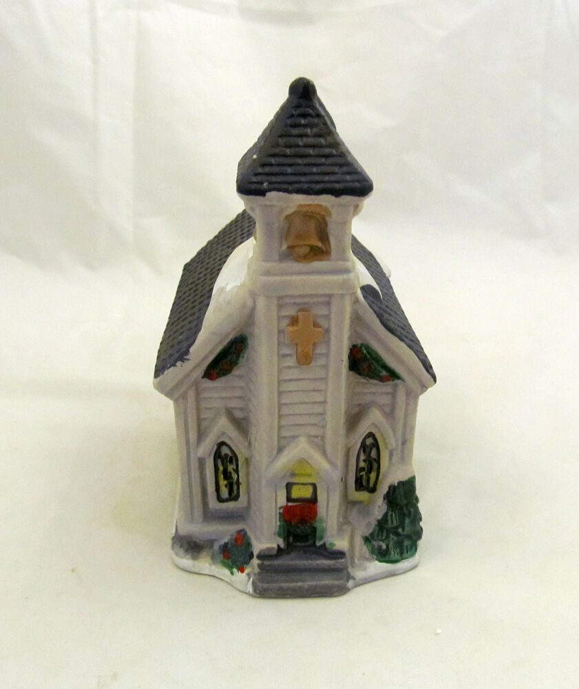 Painting Church In Snow Religious Christmas Ceramic: Christmas Village Country Town Church House Holiday Snow