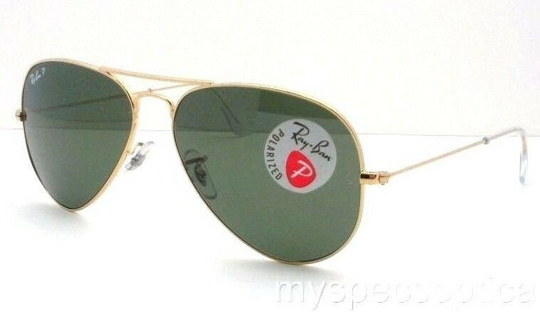 31223f4702 Details about AUTHENTIC Ray Ban Aviator 3025 001 58 Gold Polarized Green New