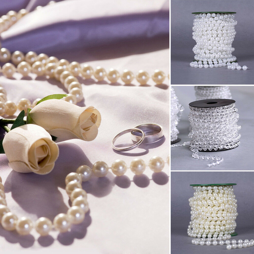 10m/Roll Plastic Pearl String Beads Wedding Party Home
