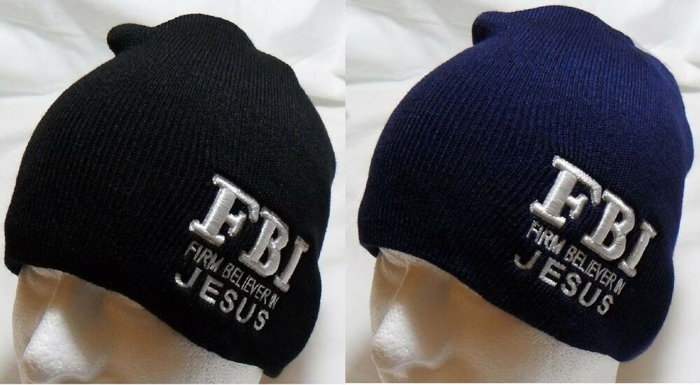 f8e785e120c Details about F.B.I. Firm Believer In Jesus Christian Winter Beanie Hat  Tobogan