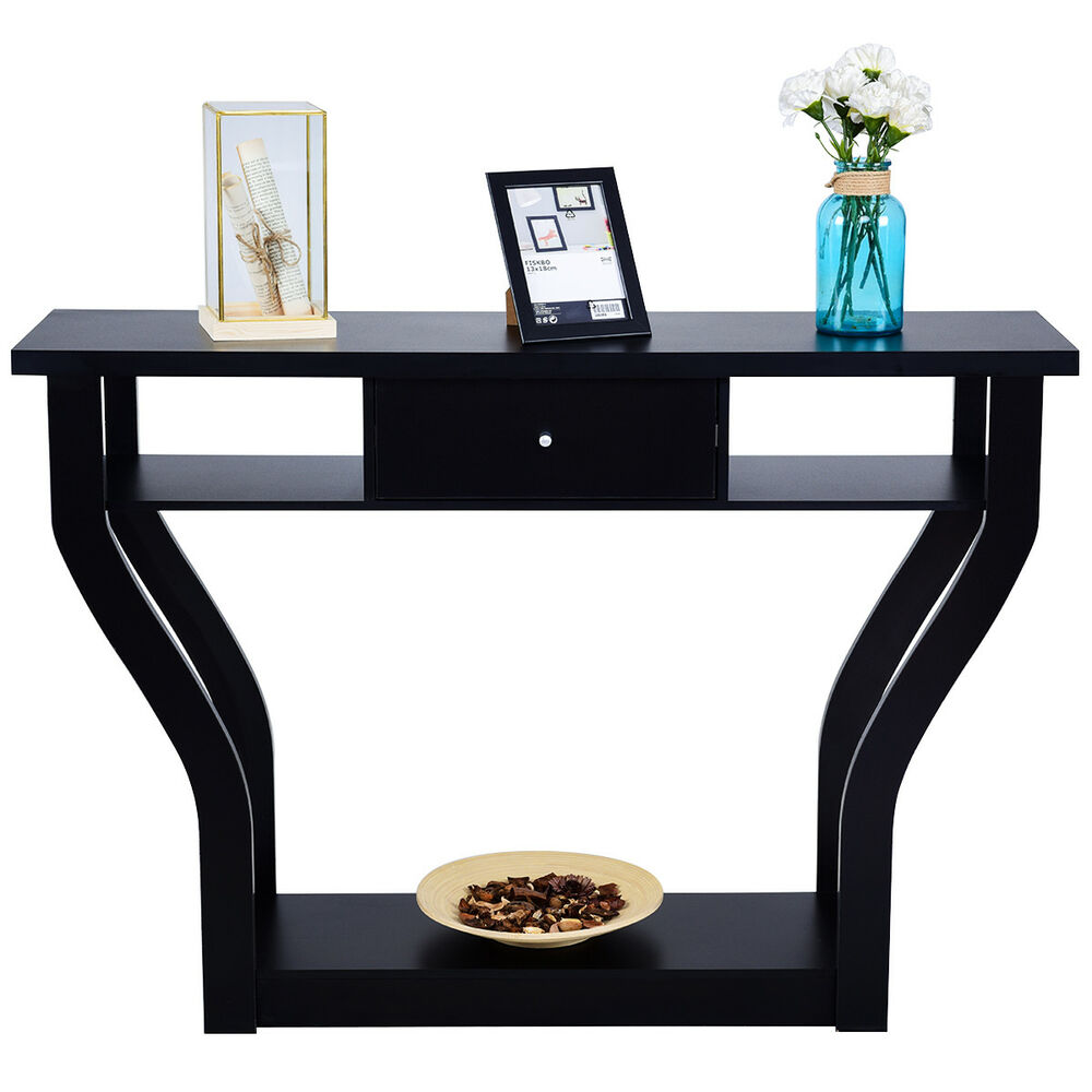 Black Accent Console Table Modern Sofa Entryway Hallway