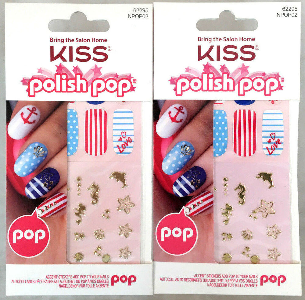 2) Kiss Polish Pop Nail Art Red Blue White Beach Wisteria Lane ...